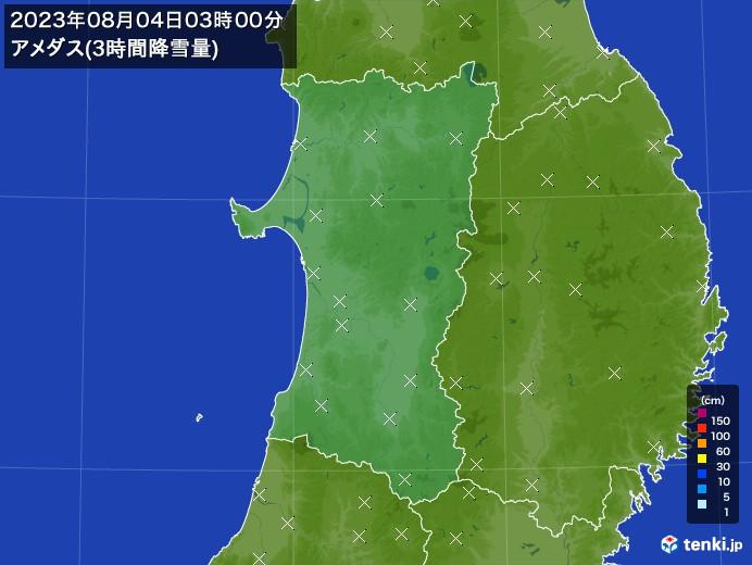 秋田県のアメダス合計降雪量(3時間)