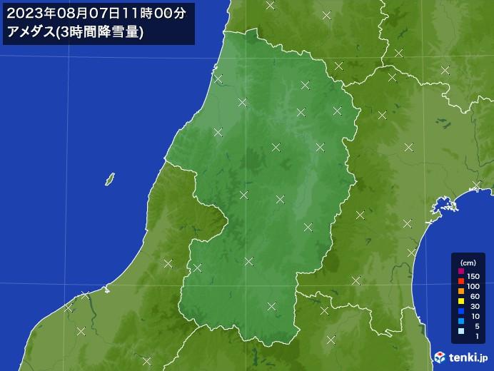 山形県のアメダス合計降雪量(3時間)