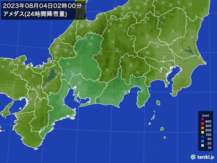 東海地方のアメダス合計降雪量(24時間)