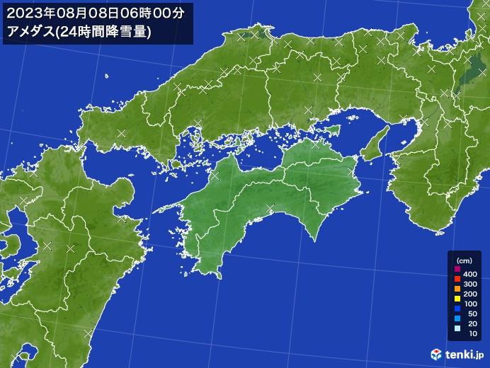四国地方のアメダス合計降雪量(24時間)