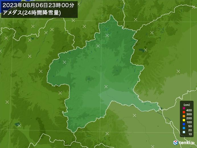 群馬県のアメダス合計降雪量(24時間)