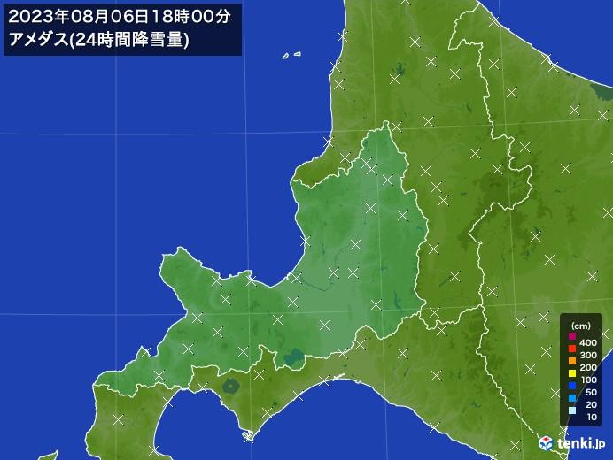 道央のアメダス合計降雪量(24時間)