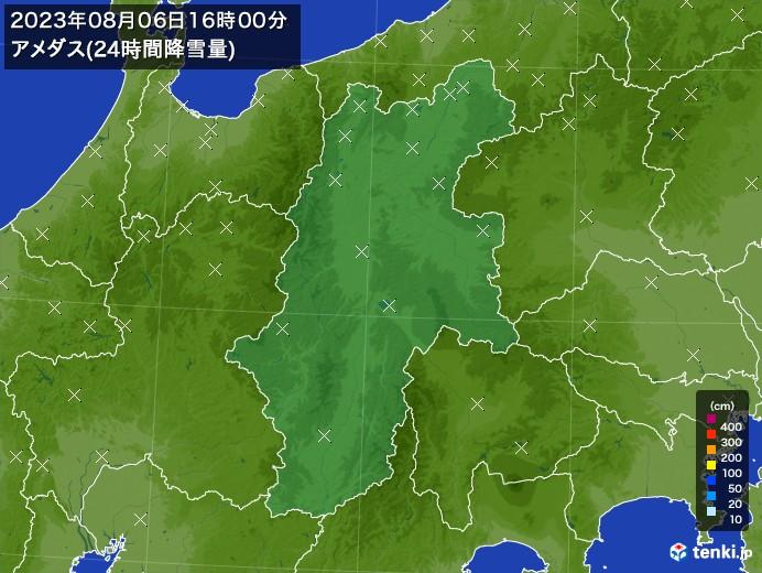 長野県のアメダス合計降雪量(24時間)