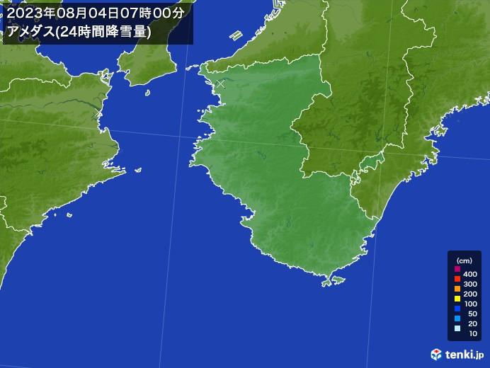 和歌山県のアメダス合計降雪量(24時間)