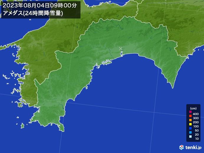 高知県のアメダス合計降雪量(24時間)