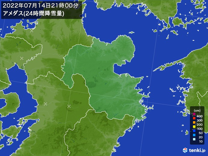大分県のアメダス合計降雪量(24時間)
