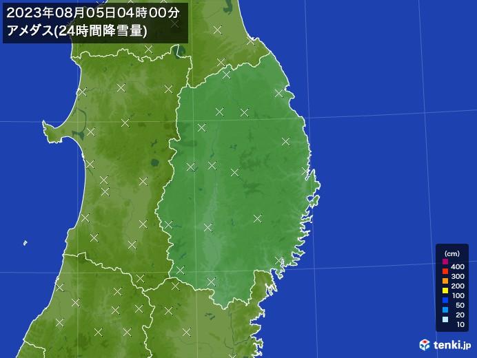 岩手県のアメダス合計降雪量(24時間)
