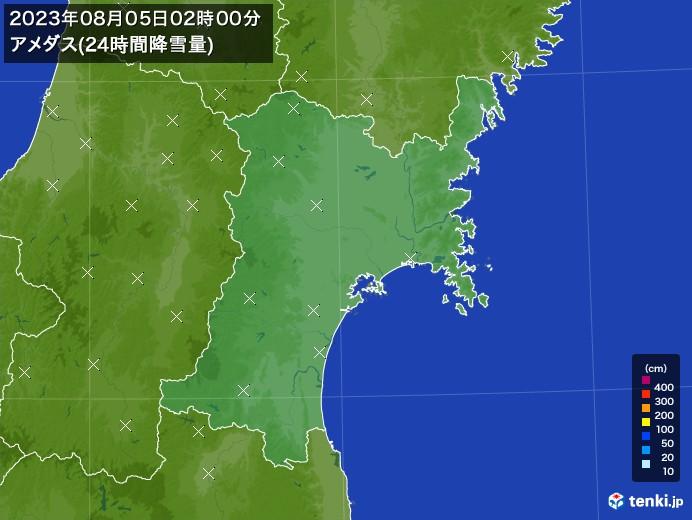 宮城県のアメダス合計降雪量(24時間)