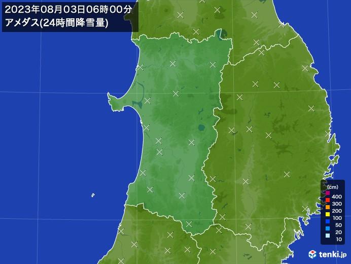 秋田県のアメダス合計降雪量(24時間)