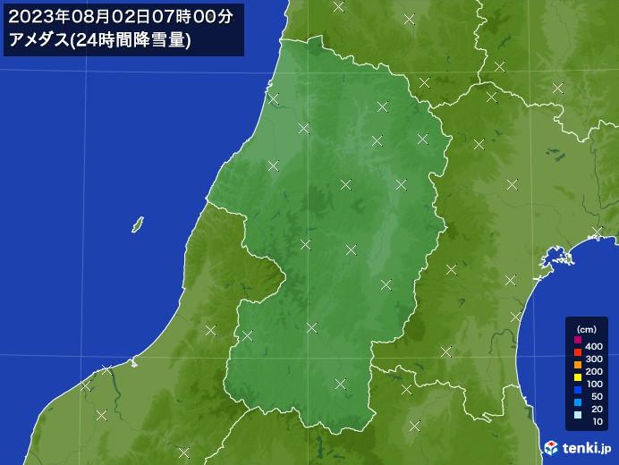 山形県のアメダス合計降雪量(24時間)