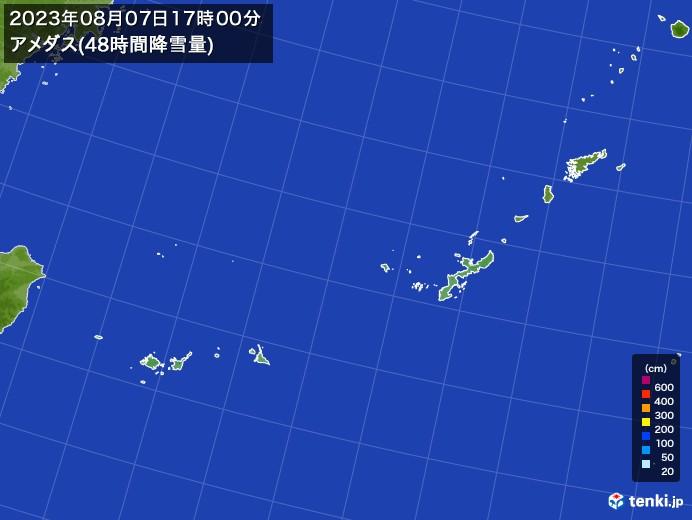 沖縄地方のアメダス合計降雪量(48時間)