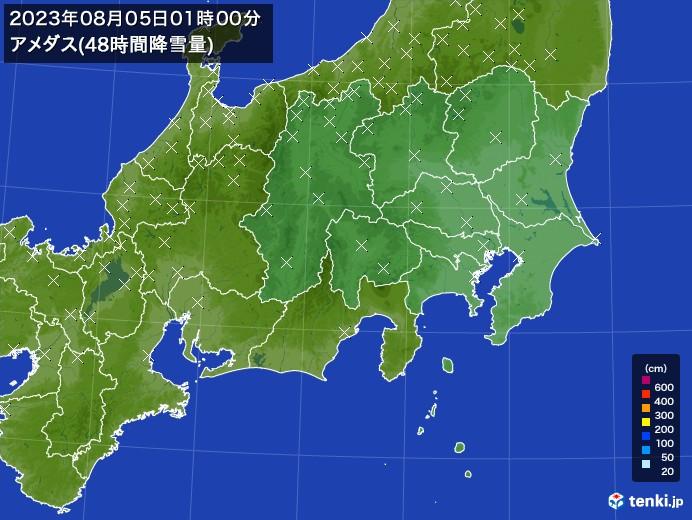 関東・甲信地方のアメダス合計降雪量(48時間)