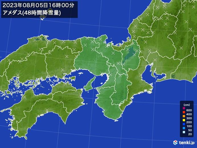 近畿地方のアメダス合計降雪量(48時間)