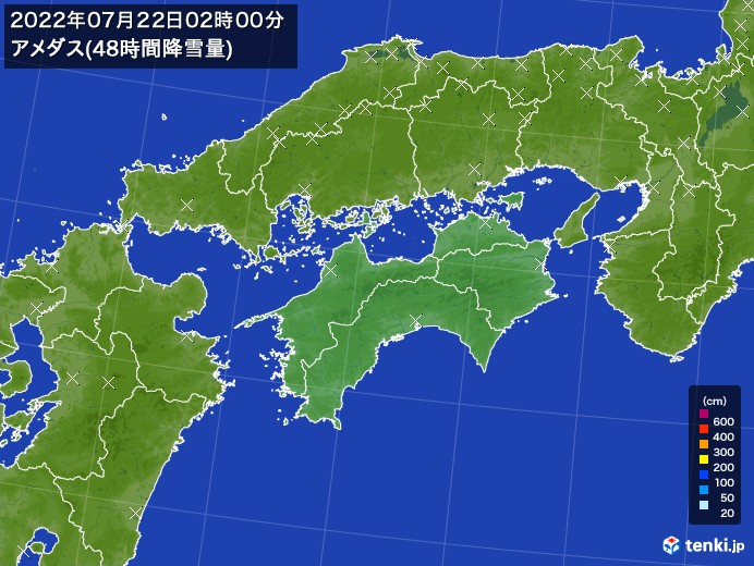 四国地方のアメダス合計降雪量(48時間)
