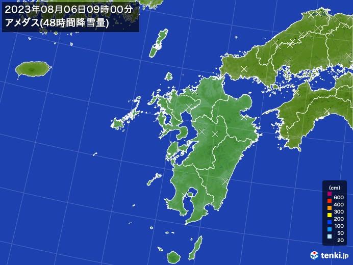 九州地方のアメダス合計降雪量(48時間)