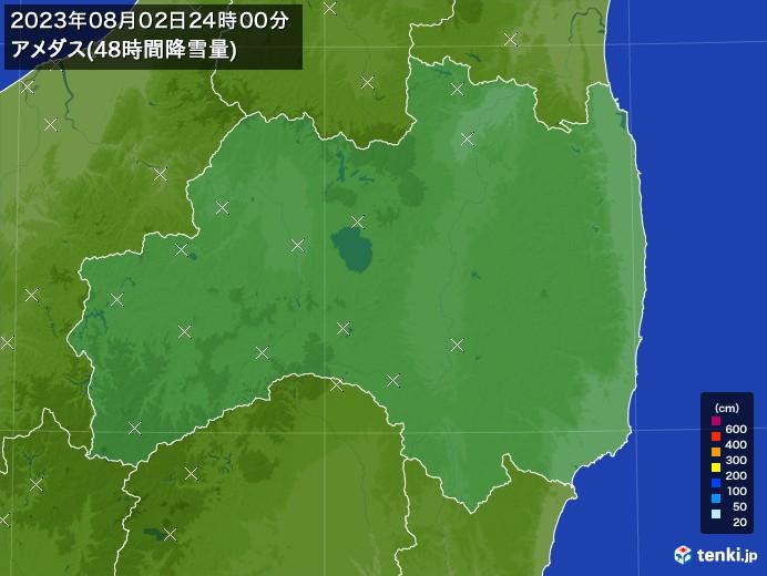 福島県のアメダス合計降雪量(48時間)
