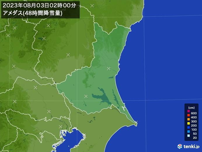 茨城県のアメダス合計降雪量(48時間)