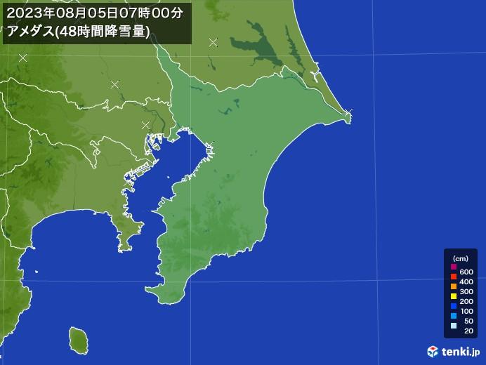 千葉県のアメダス合計降雪量(48時間)