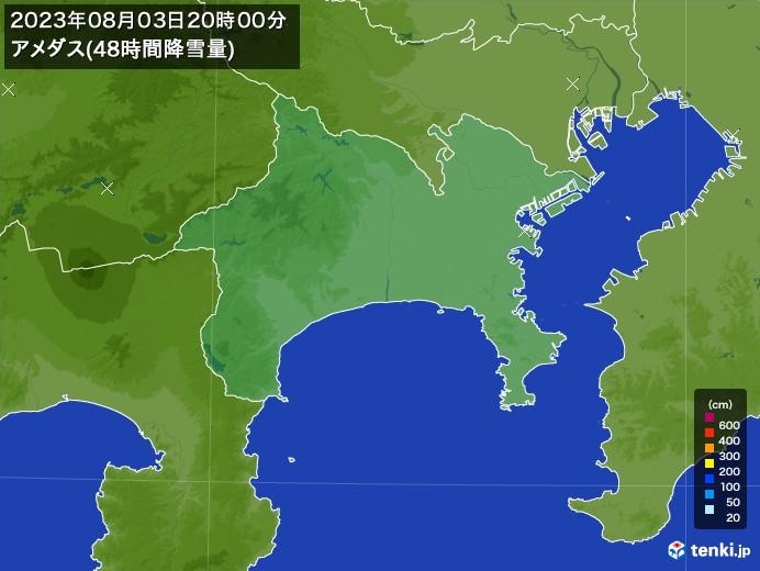 神奈川県のアメダス合計降雪量(48時間)