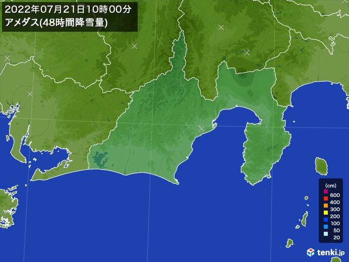 静岡県のアメダス合計降雪量(48時間)