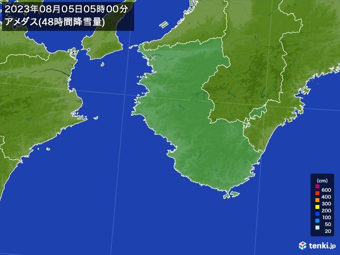 和歌山県のアメダス合計降雪量(48時間)