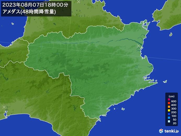 徳島県のアメダス合計降雪量(48時間)