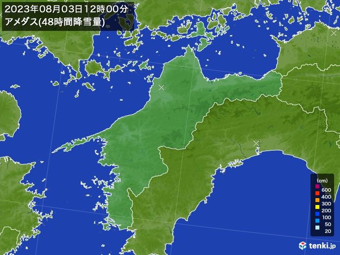 愛媛県のアメダス合計降雪量(48時間)