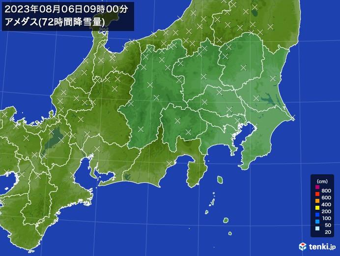 関東・甲信地方のアメダス合計降雪量(72時間)