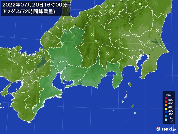 東海地方のアメダス合計降雪量(72時間)