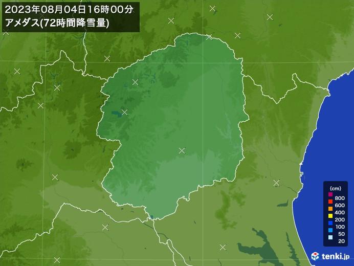栃木県のアメダス合計降雪量(72時間)