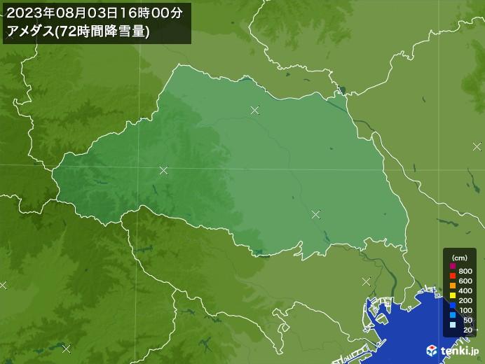 埼玉県のアメダス合計降雪量(72時間)