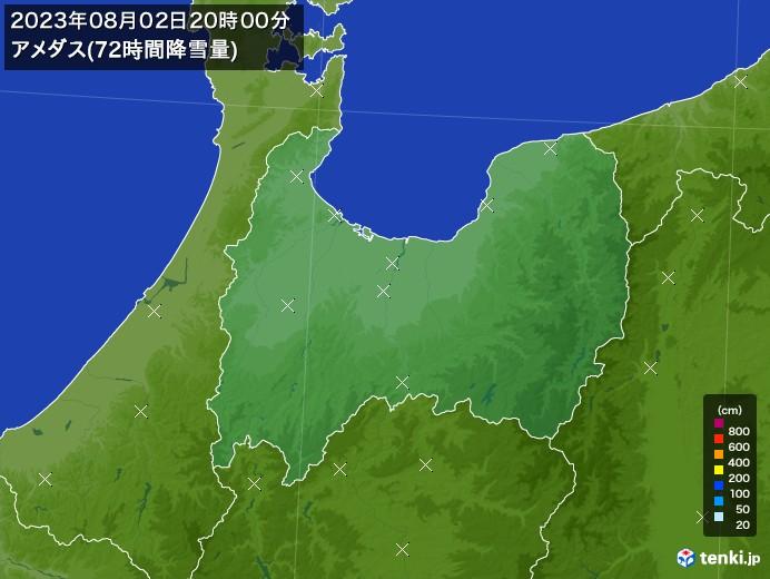 富山県のアメダス合計降雪量(72時間)