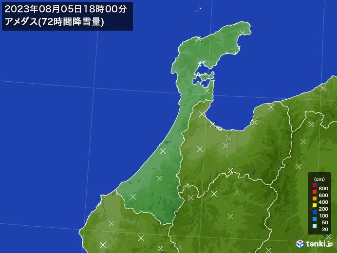 石川県のアメダス合計降雪量(72時間)