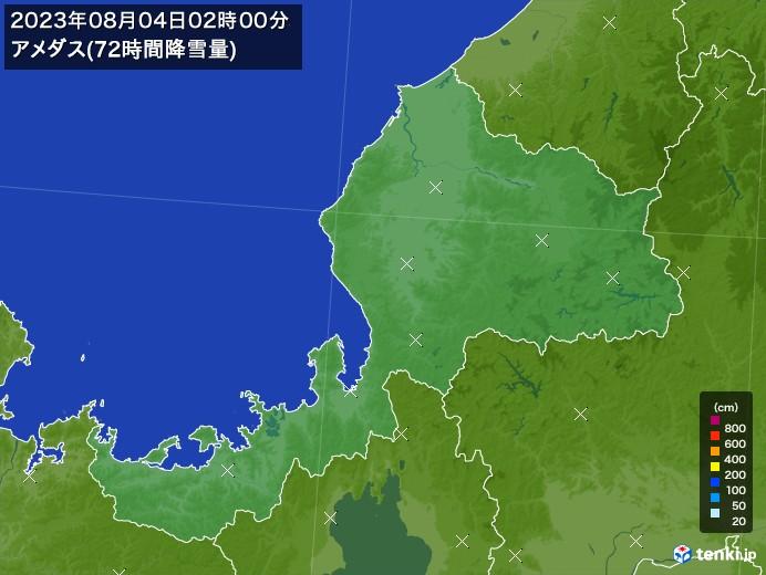 福井県のアメダス合計降雪量(72時間)