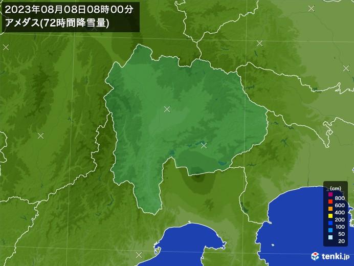 山梨県のアメダス合計降雪量(72時間)