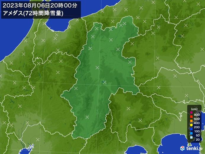 長野県のアメダス合計降雪量(72時間)