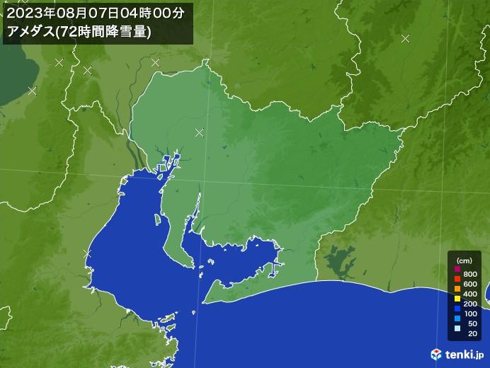 愛知県のアメダス合計降雪量(72時間)