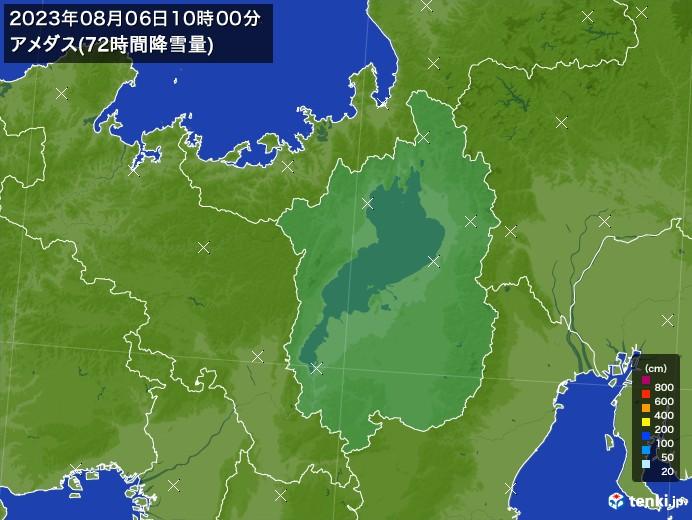 滋賀県のアメダス合計降雪量(72時間)