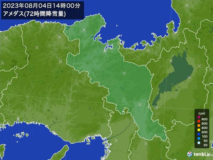 京都府のアメダス合計降雪量(72時間)