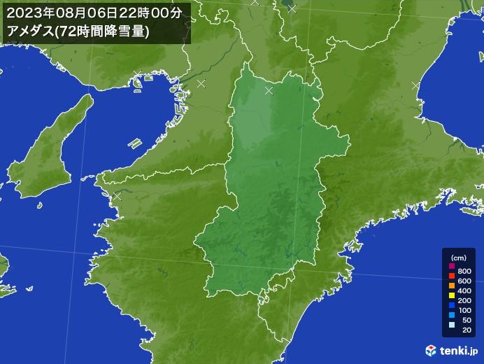 奈良県のアメダス合計降雪量(72時間)