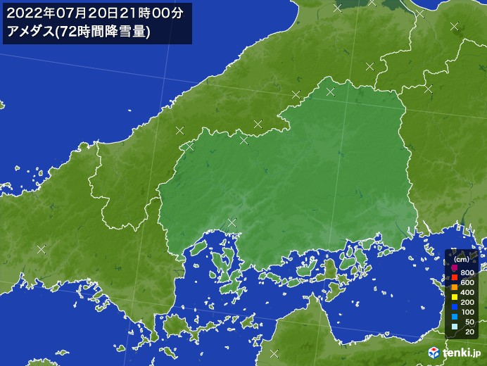 広島県のアメダス合計降雪量(72時間)