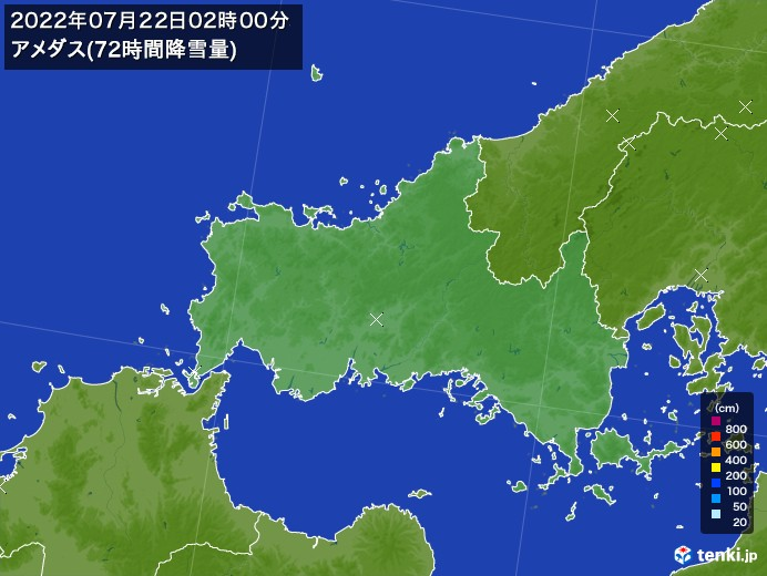 山口県のアメダス合計降雪量(72時間)