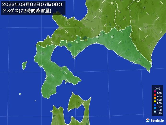 道南のアメダス合計降雪量(72時間)