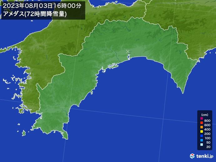 高知県のアメダス合計降雪量(72時間)