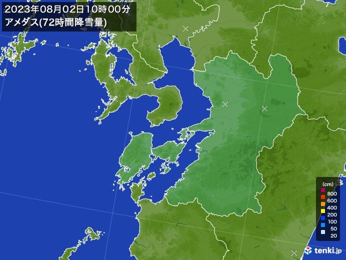 熊本県のアメダス合計降雪量(72時間)