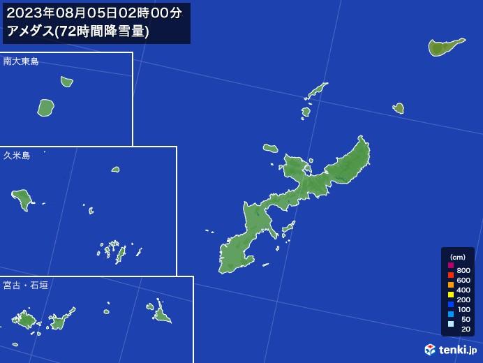 沖縄県のアメダス合計降雪量(72時間)