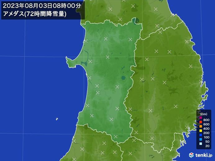 秋田県のアメダス合計降雪量(72時間)