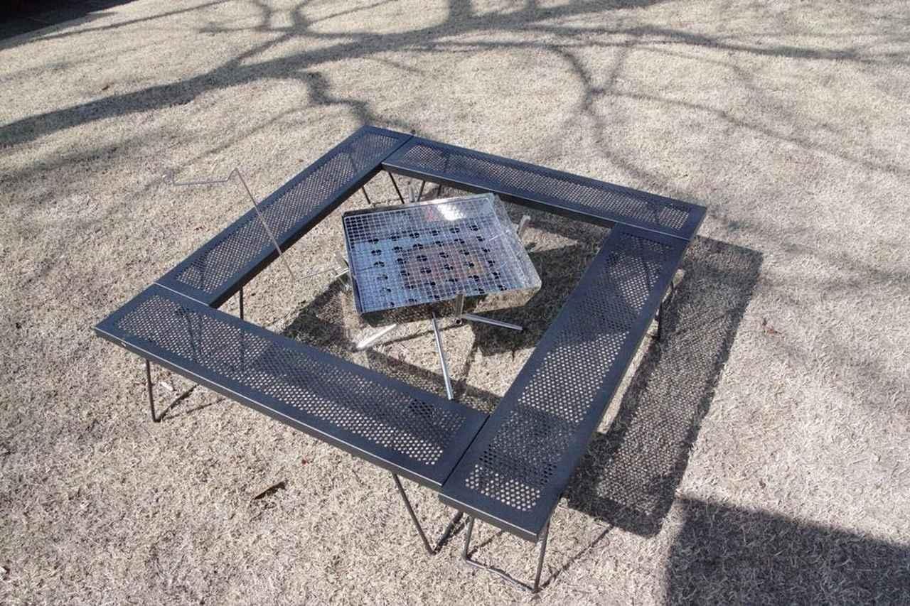 テントファクトリーの囲炉裏テーブル『スチールワークスフリー4セット』をレビュー!