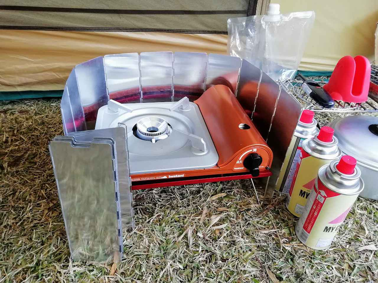 画像: 筆者撮影 ファミリーキャンプでは安定するカセットコンロが安心♪