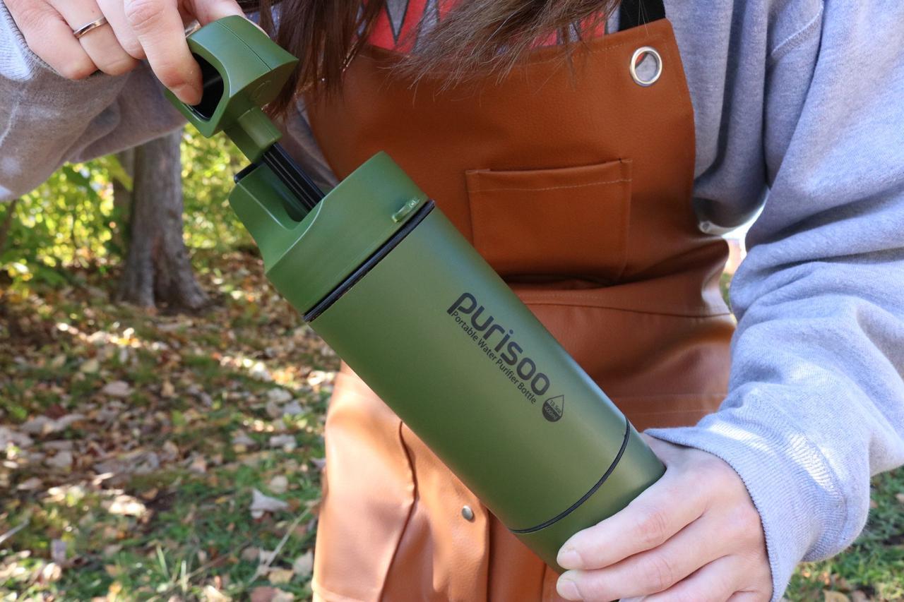 給水しながらすぐゴクリ! ポータブル浄水ボトル『Purisoo⁺(ピュリスプラス)』をレビュー
